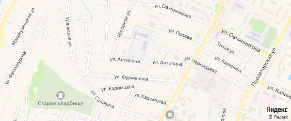 Улица Антипина на карте Бирска с номерами домов