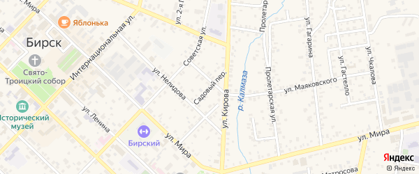 Садовый переулок на карте Бирска с номерами домов