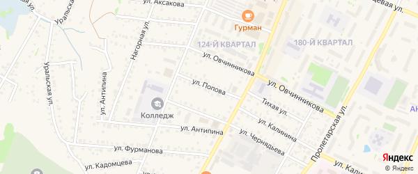 Улица Попова на карте Бирска с номерами домов