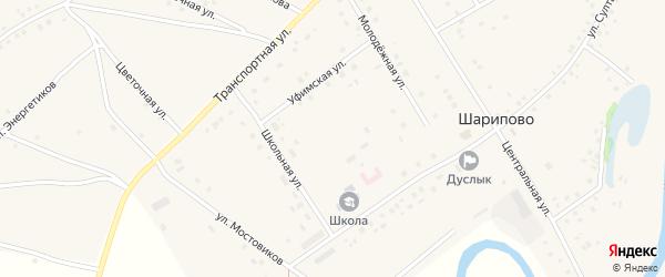 Восточная улица на карте села Шарипово с номерами домов