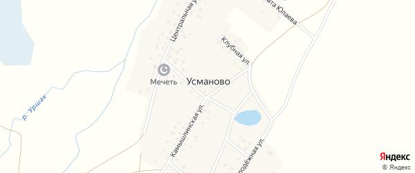 Клубная улица на карте деревни Усманово с номерами домов