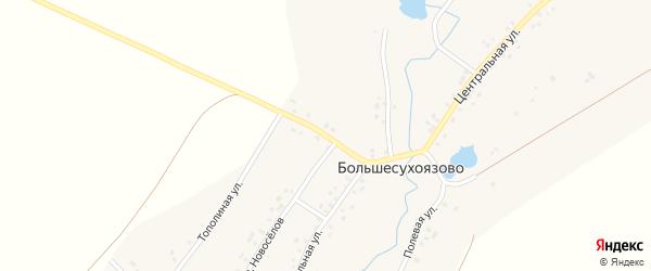 Трактовая улица на карте деревни Большесухоязово с номерами домов