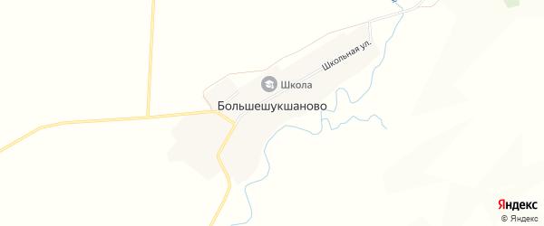 Карта деревни Большешукшаново в Башкортостане с улицами и номерами домов