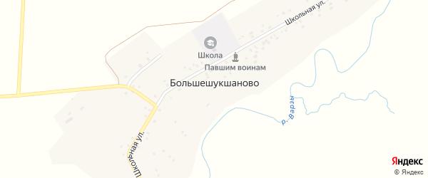 Школьная улица на карте деревни Большешукшаново с номерами домов
