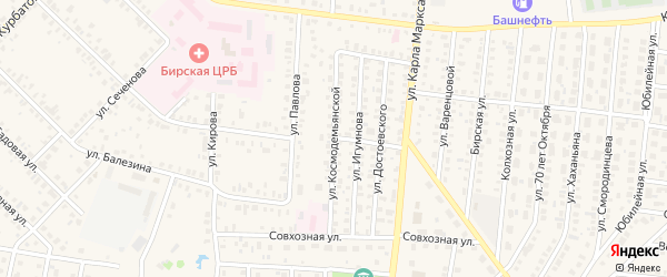 Улица Космодемьянской на карте Бирска с номерами домов