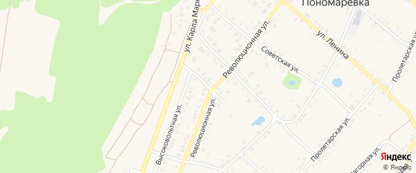 Революционный переулок на карте села Пономаревки с номерами домов