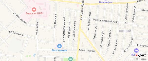 Улица Достоевского на карте Бирска с номерами домов