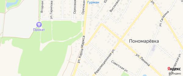 Высоковольтная улица на карте села Пономаревки с номерами домов
