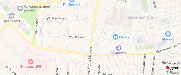 Улица Чехова на карте Бирска с номерами домов