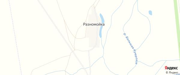 Карта хутора Разномойки в Башкортостане с улицами и номерами домов