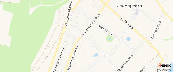 Пономаревская улица на карте села Пономаревки с номерами домов