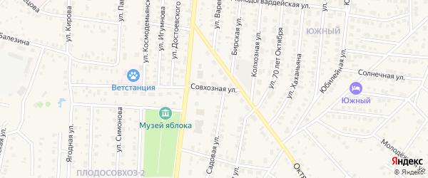 Совхозная улица на карте села Пономаревки с номерами домов