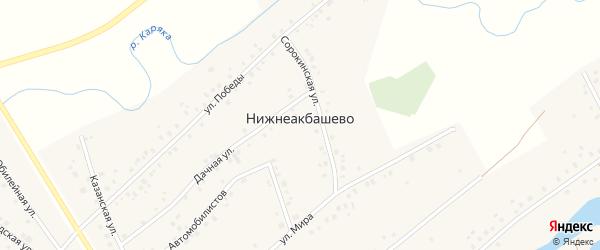 Улица Автомобилистов на карте деревни Нижнеакбашево с номерами домов