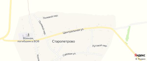Центральная улица на карте села Старопетрова с номерами домов