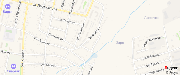 Зеленая улица на карте Бирска с номерами домов