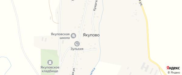 Центральная улица на карте села Якупово с номерами домов