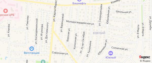 Колхозная улица на карте Бирска с номерами домов