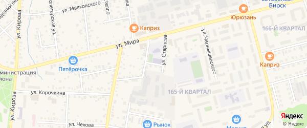Улица Старцева на карте Бирска с номерами домов