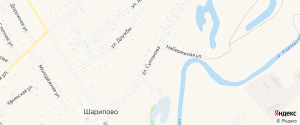 Улица Султанова на карте села Шарипово с номерами домов