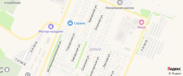 Осенняя улица на карте Бирска с номерами домов