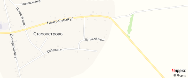 Луговой переулок на карте села Старопетрова с номерами домов