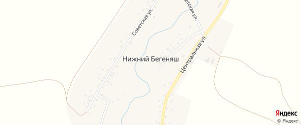 Центральная улица на карте деревни Нижнего Бегеняша с номерами домов
