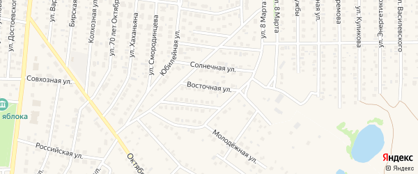 Восточная улица на карте Бирска с номерами домов