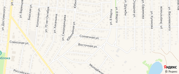 Солнечная улица на карте Бирска с номерами домов