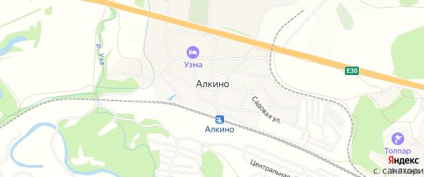 СНТ Весна на карте деревни Алкино с номерами домов