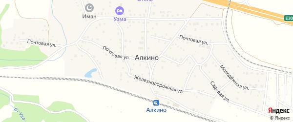 Садовая улица на карте деревни Алкино с номерами домов