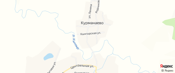 Карта деревни Курманаево в Башкортостане с улицами и номерами домов
