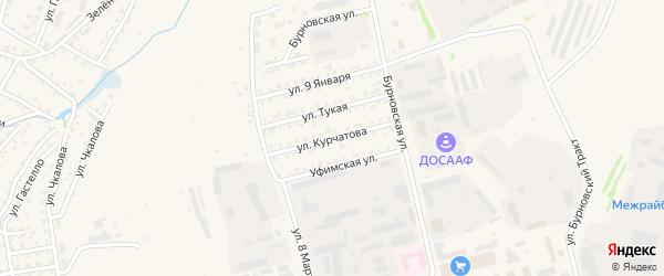 Улица Курчатова на карте Бирска с номерами домов