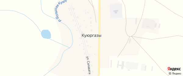 Центральная улица на карте деревни Куюргазы с номерами домов