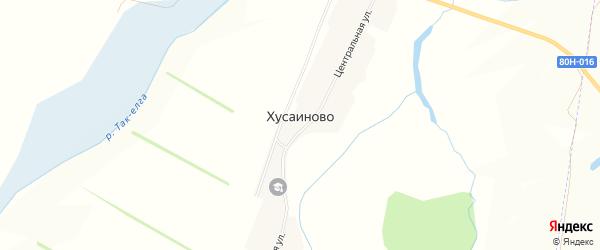 Карта села Хусаиново в Башкортостане с улицами и номерами домов