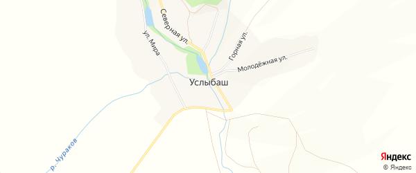Карта села Услыбаша в Башкортостане с улицами и номерами домов