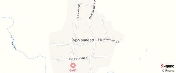 Родниковая улица на карте деревни Курманаево с номерами домов