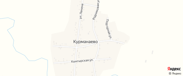 Луговая улица на карте деревни Курманаево с номерами домов