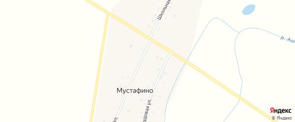 Школьная улица на карте деревни Мустафино с номерами домов