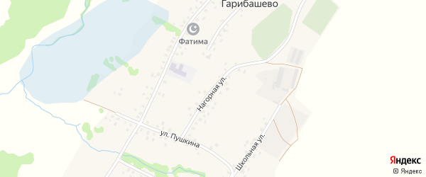 Нагорная улица на карте деревни Гарибашево с номерами домов