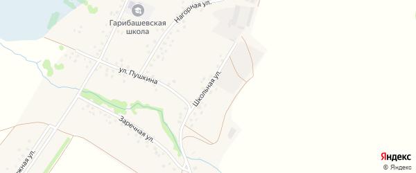 Школьная улица на карте деревни Гарибашево с номерами домов