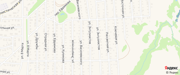 Улица Энтузиастов на карте Бирска с номерами домов
