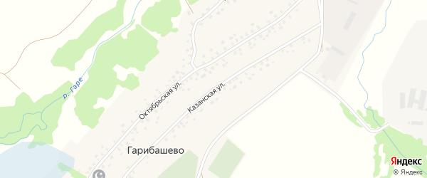 Казанская улица на карте деревни Гарибашево с номерами домов
