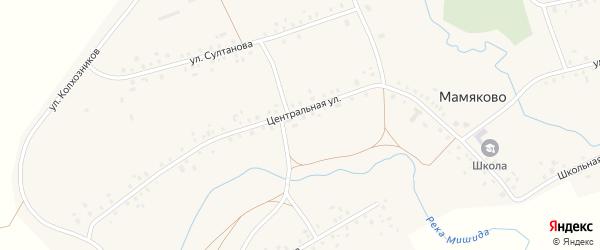 Центральная улица на карте деревни Мамяково с номерами домов
