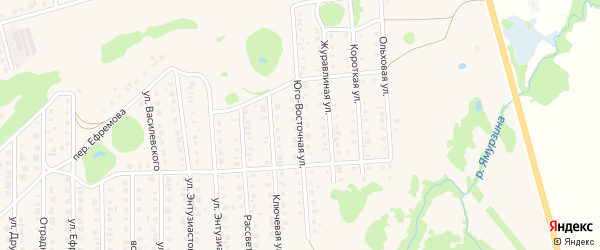 Юго-Восточная улица на карте Бирска с номерами домов