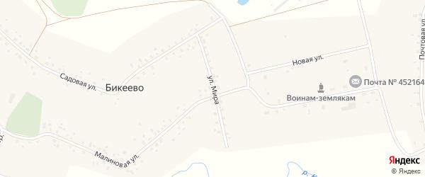 Улица Мира на карте села Бикеево с номерами домов