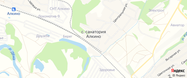 СНТ Актер на карте села Санатория Алкино с номерами домов