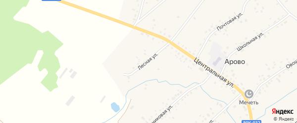 Лесная улица на карте деревни Арово с номерами домов