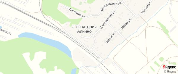 Железнодорожная улица на карте села Санатория Алкино с номерами домов