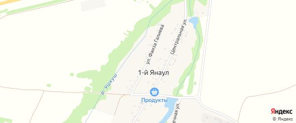 Улица Фаиза Галиева на карте деревни 1-й Янаула с номерами домов