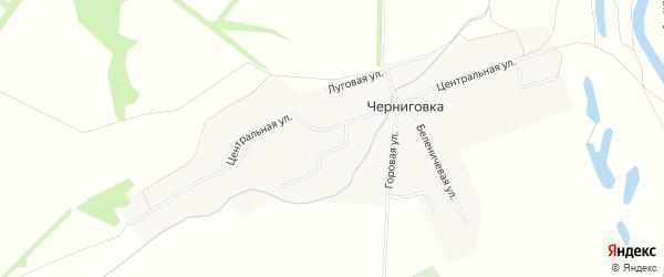 Карта села Черниговки в Башкортостане с улицами и номерами домов